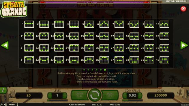 Игровой интерфейс Spinata Grande 6