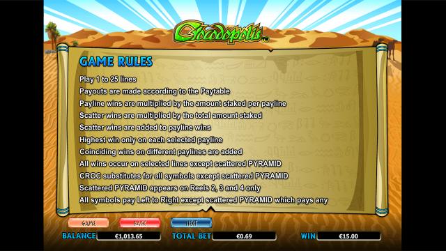 Характеристики слота Crocodopolis 9
