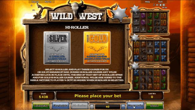 Игровой интерфейс Wild West 3
