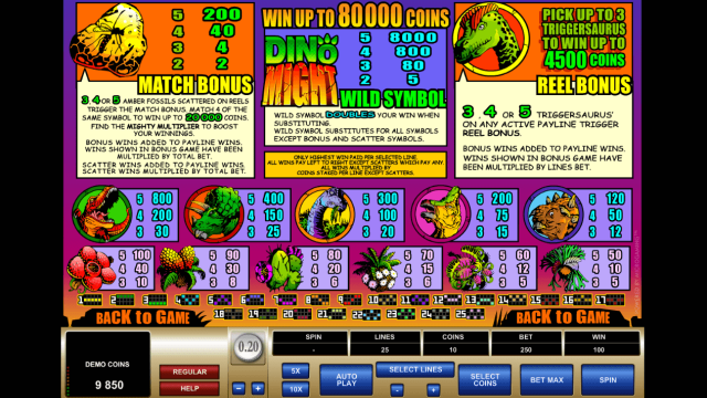 Игровой интерфейс Dino Might 2