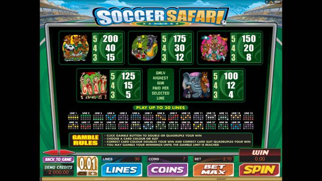 Игровой интерфейс Soccer Safari 5