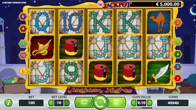 Игровой интерфейс Arabian Nights 5