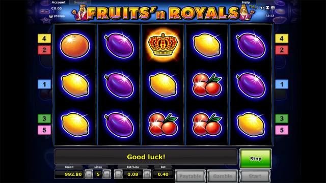 Игровой интерфейс Fruits And Royals 1