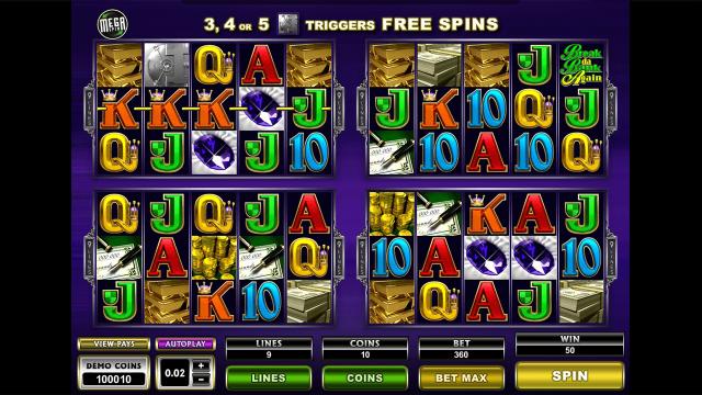Игровой интерфейс Mega Spins Break Da Bank Again 3