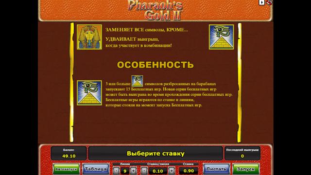 Характеристики слота Pharaoh's Gold II 1
