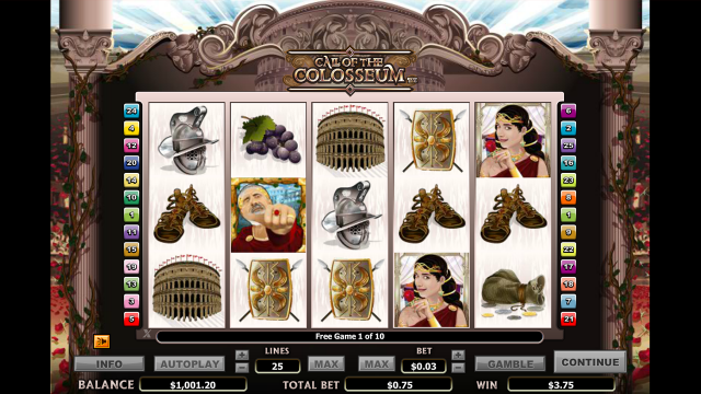 Характеристики слота Call Of The Colosseum 10