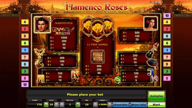 Игровой интерфейс Flamenco Roses 9