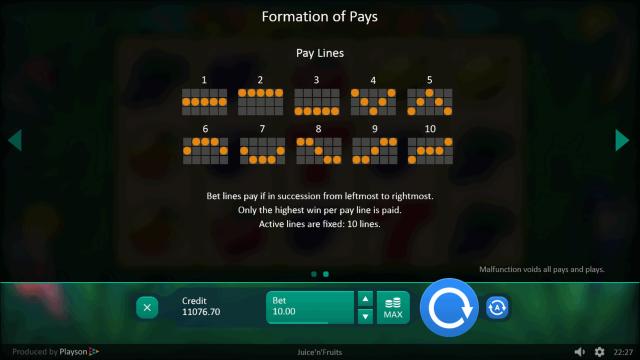 Игровой интерфейс Juice 'N' Fruits 6