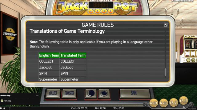 Игровой интерфейс Jackpot 6000 4