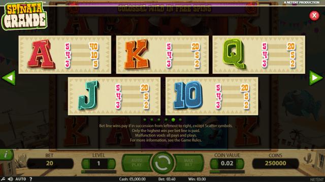 Игровой интерфейс Spinata Grande 5