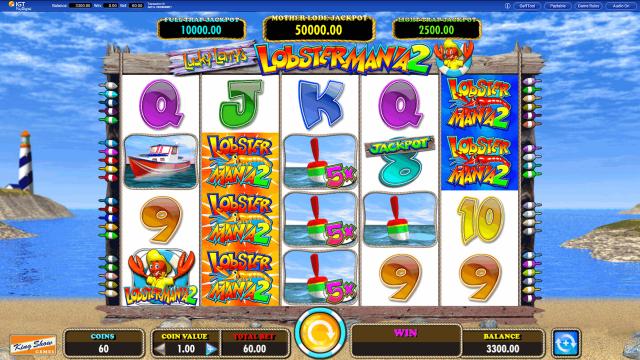 Игровой интерфейс Lucky Larry's Lobstermania 2 1