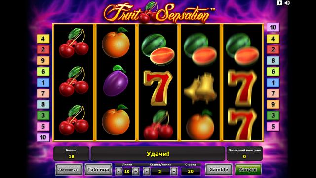 Характеристики слота Fruit Sensation 8