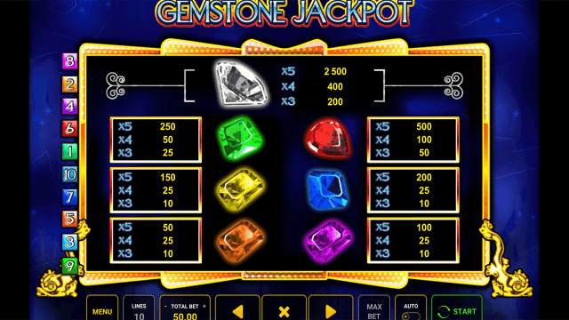 Игровой интерфейс Gemstone Jackpot 6