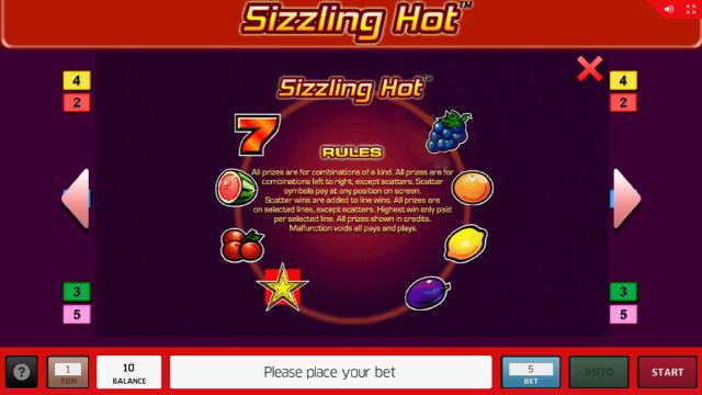 Игровой интерфейс Sizzling Hot 18